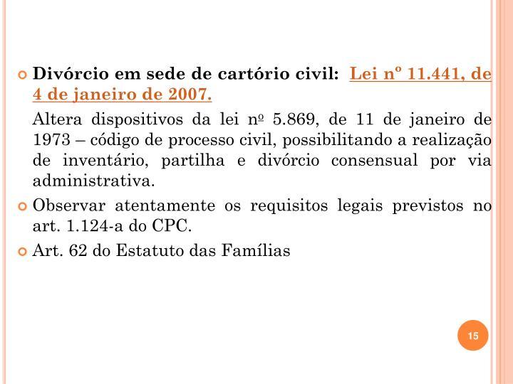 Divórcio em sede de cartório civil: