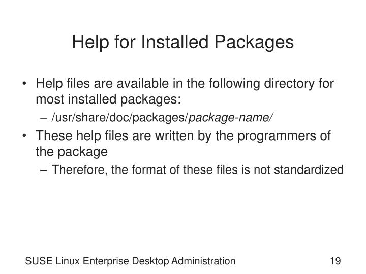 Help for Installed Packages