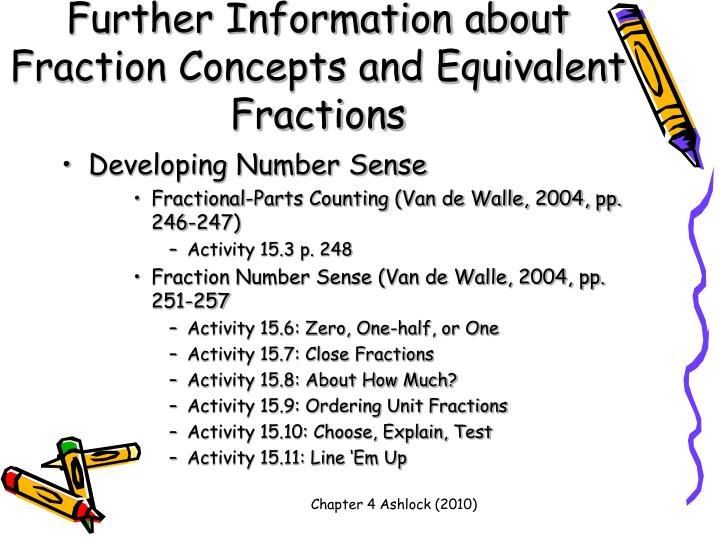 Further Information about Fraction Concepts and Equivalent Fractions