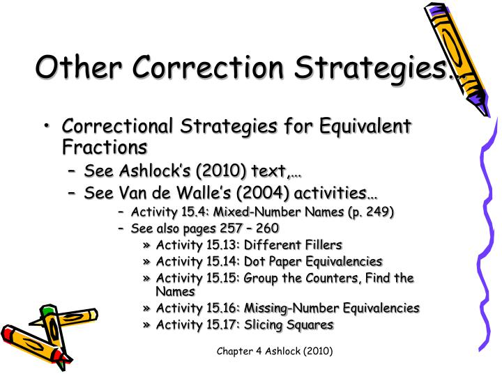 Other Correction Strategies…
