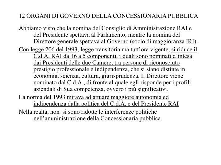 12 ORGANI DI GOVERNO DELLA CONCESSIONARIA PUBBLICA