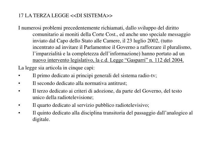 17 LA TERZA LEGGE <<DI SISTEMA>>