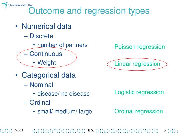 Outcome and regression types
