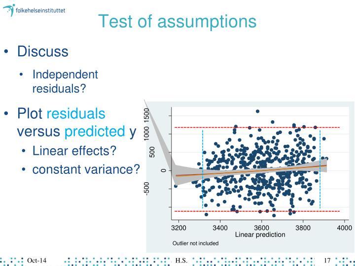 Test of assumptions