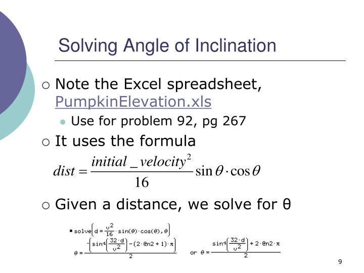 Solving Angle of Inclination