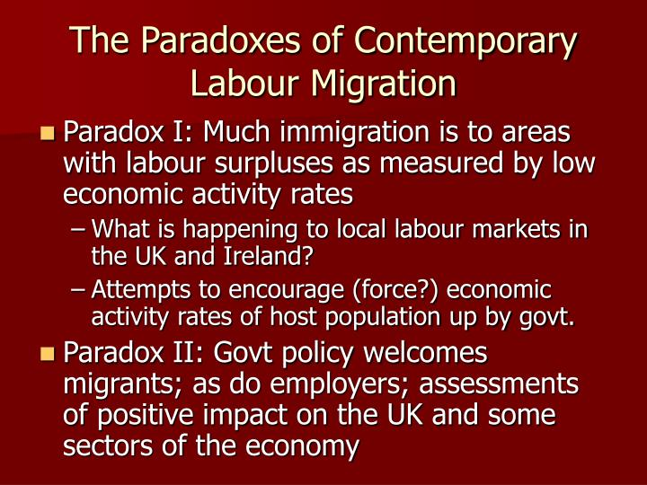 The Paradoxes of Contemporary Labour Migration
