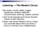 listening the modern circus