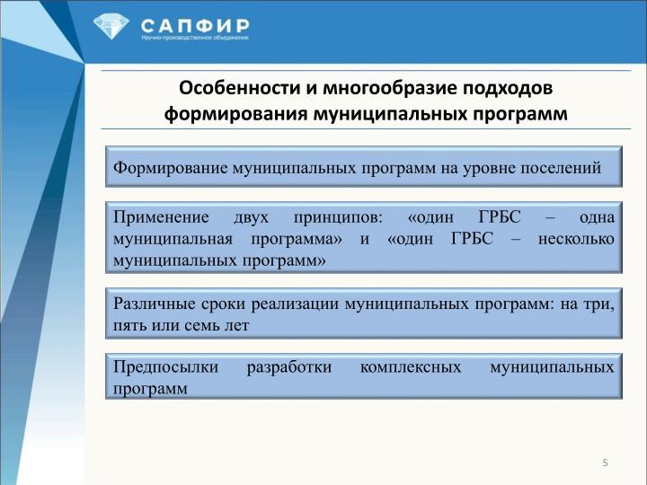 Формирование муниципальных программ на уровне поселений
