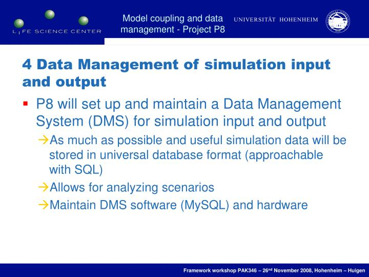 4 Data Management of simulation input and output