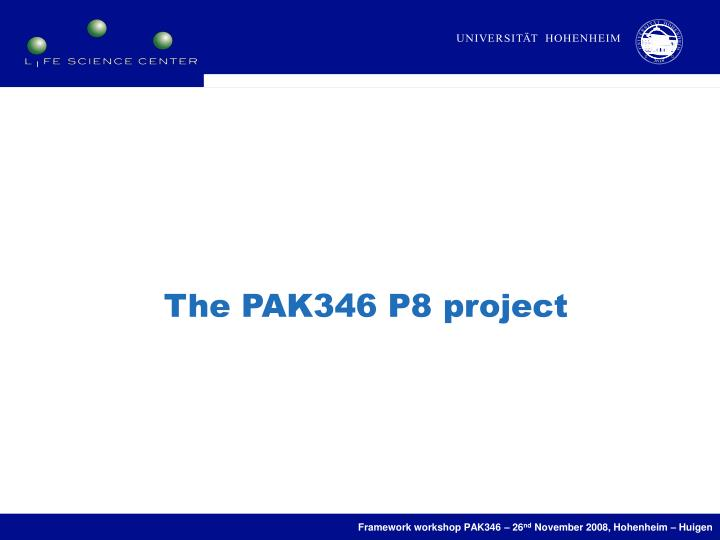 The PAK346 P8 project