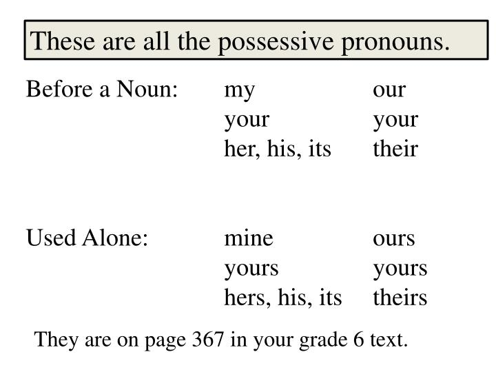 These are all the possessive pronouns.