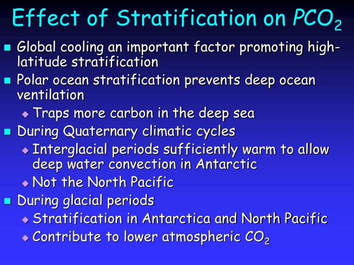 Effect of stratification on p co 2