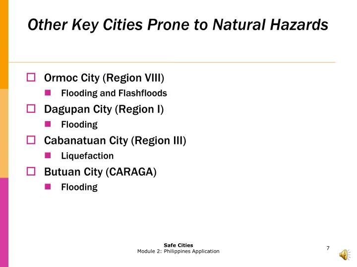 Other Key Cities Prone to Natural Hazards