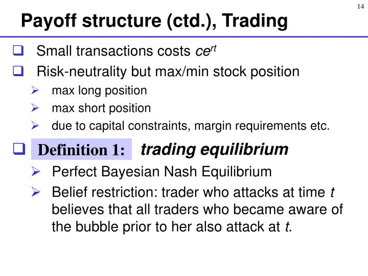 Payoff structure (ctd.), Trading
