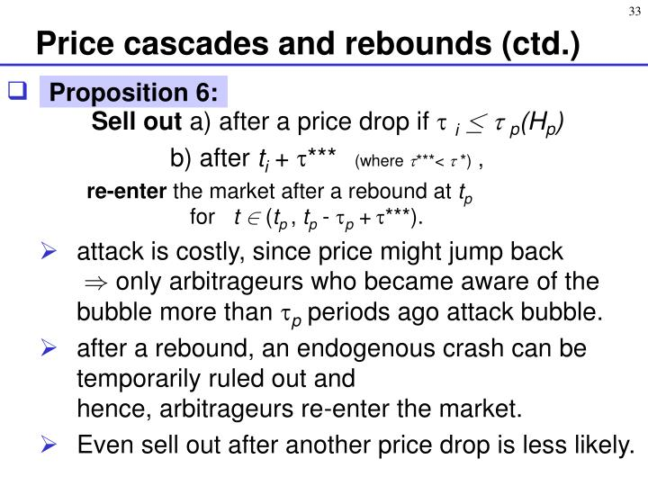 Price cascades and rebounds (ctd.)