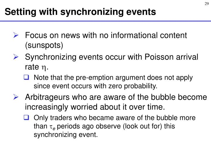 Setting with synchronizing events