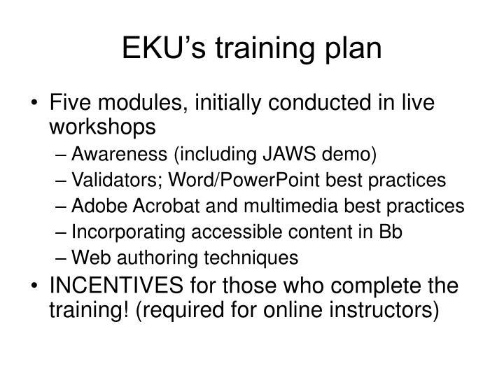 EKU's training plan