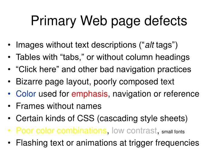 Primary Web page defects
