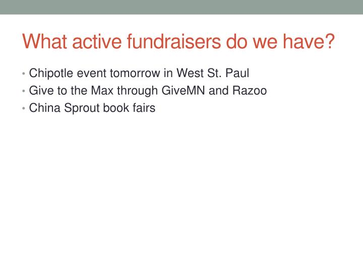 What active fundraisers do we have?