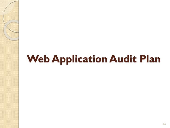 Web Application Audit Plan
