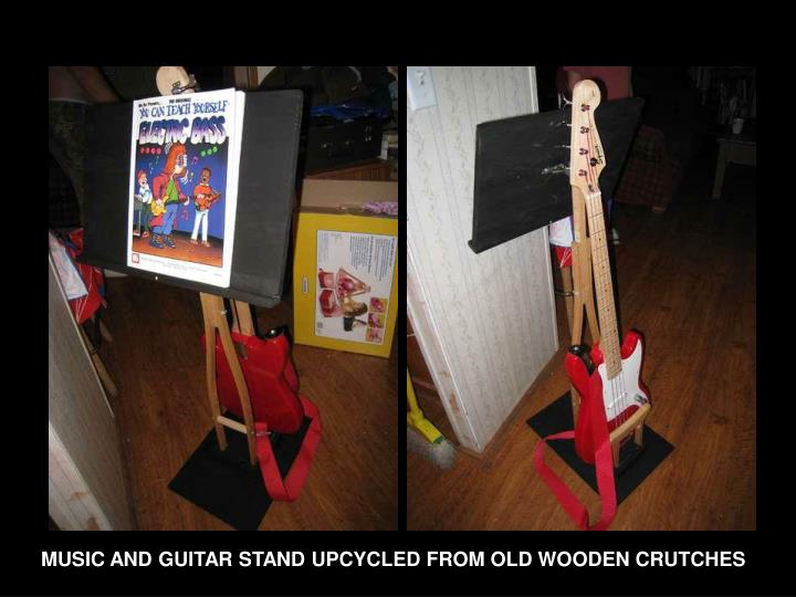 MUSIC AND GUITAR STAND UPCYCLED FROM OLD WOODEN CRUTCHES