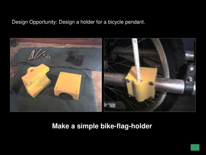 Design Opportunity: Design a holder for a bicycle pendant.