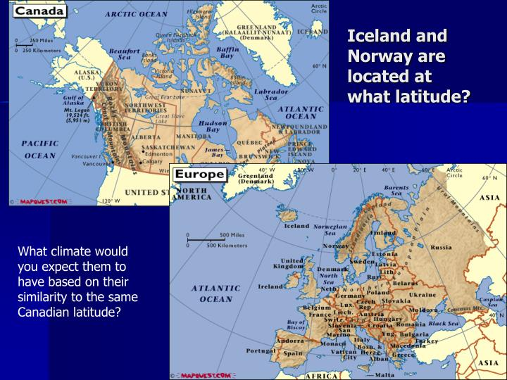 Iceland and Norway are located at what latitude?