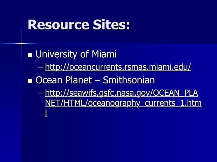 Resource Sites: