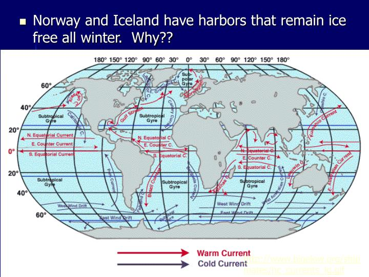 Norway and Iceland have harbors that remain ice free all winter.  Why??