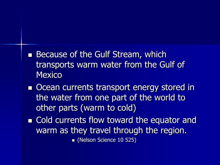 Because of the Gulf Stream, which transports warm water from the Gulf of Mexico