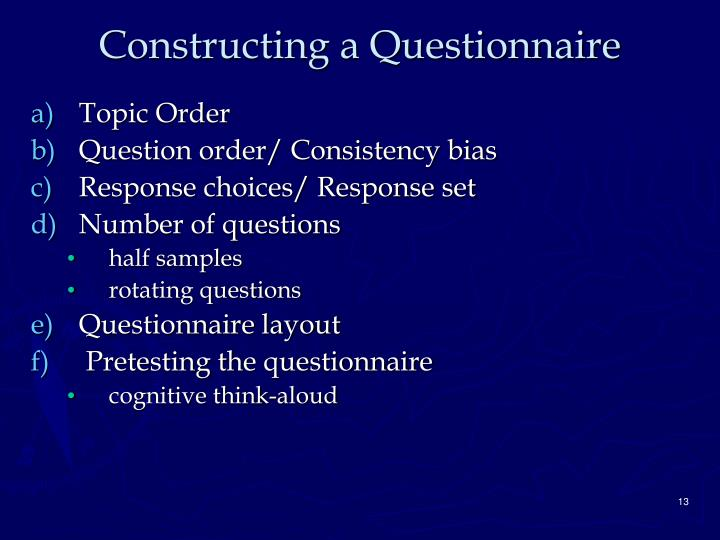 Constructing a Questionnaire