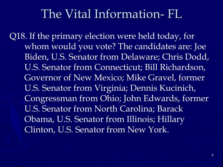 The Vital Information- FL