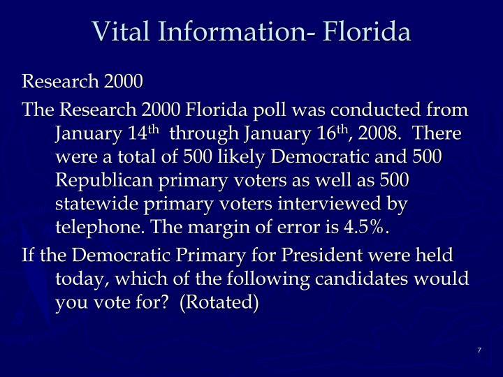 Vital Information- Florida