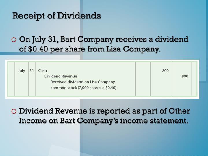Receipt of Dividends