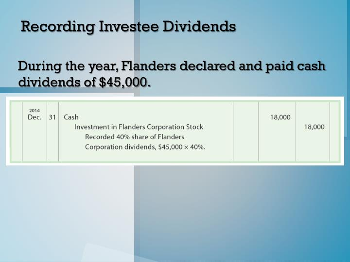 Recording Investee Dividends