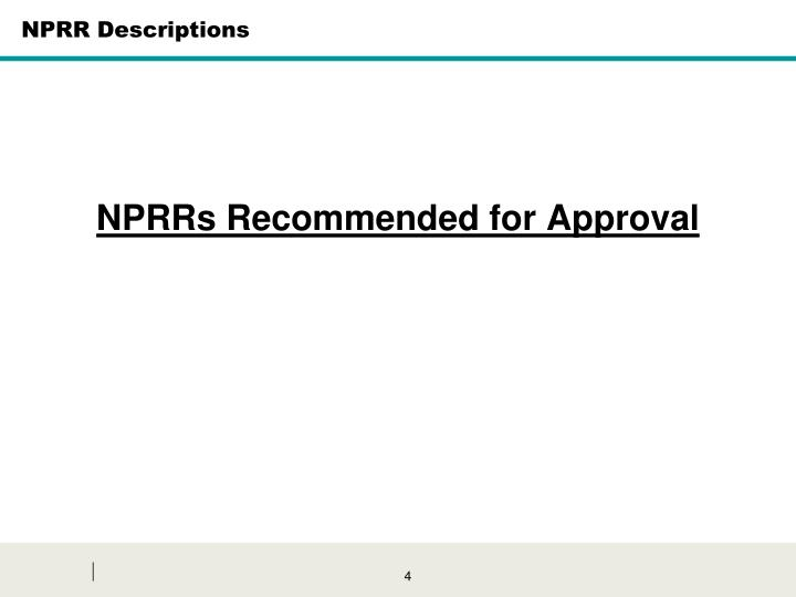 NPRR Descriptions