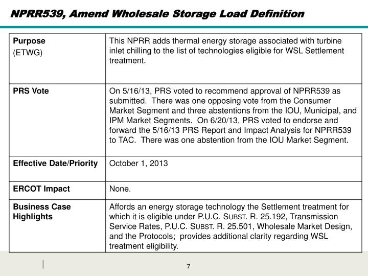 NPRR539, Amend Wholesale Storage Load Definition