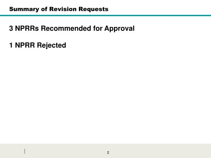 Summary of Revision Requests
