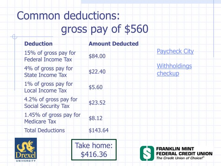 Common deductions: