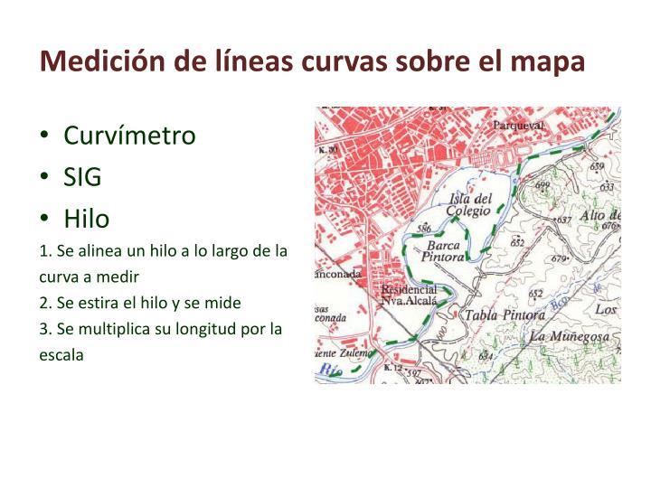 Medición de líneas curvas sobre el mapa