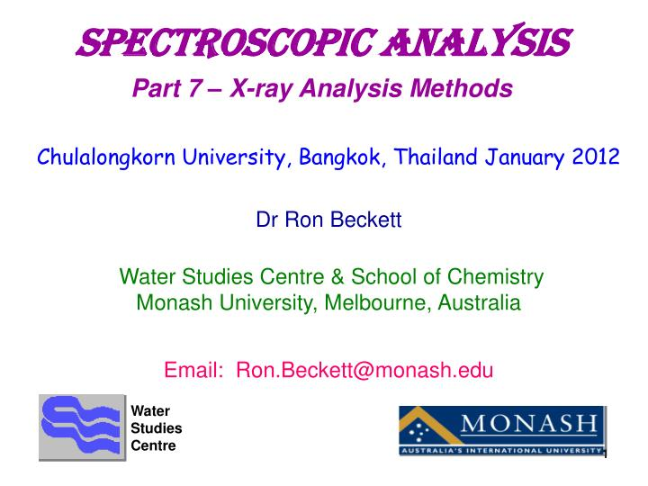 SpectroscopIC aNALYSIS