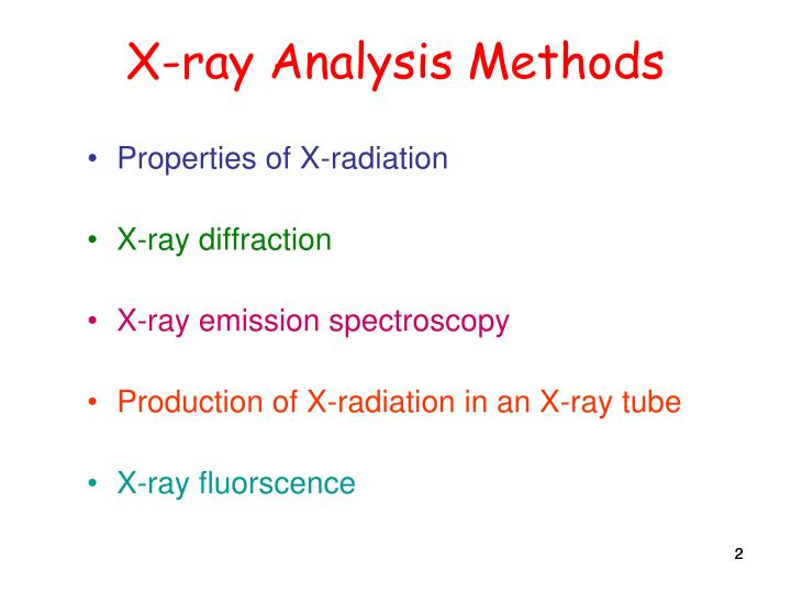 X-ray Analysis Methods