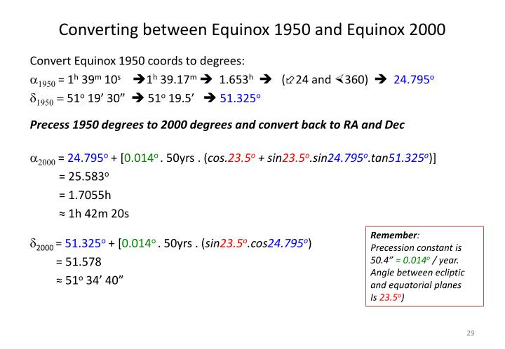 Converting between Equinox 1950 and Equinox 2000