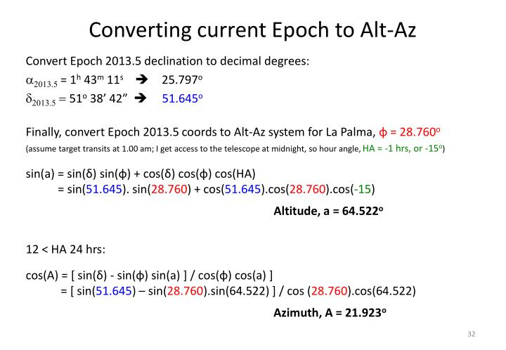 Converting current Epoch to Alt-