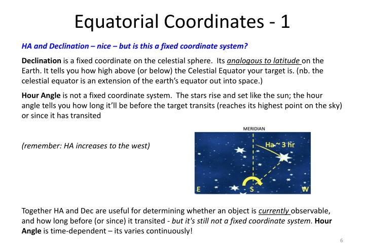Equatorial Coordinates - 1
