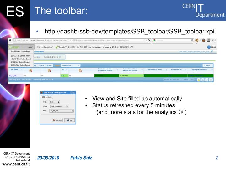 The toolbar: