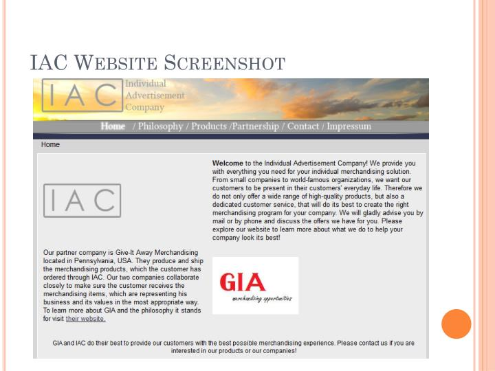 IAC Website Screenshot