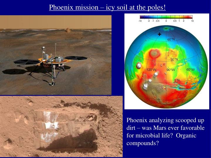 Phoenix mission – icy soil at the poles!