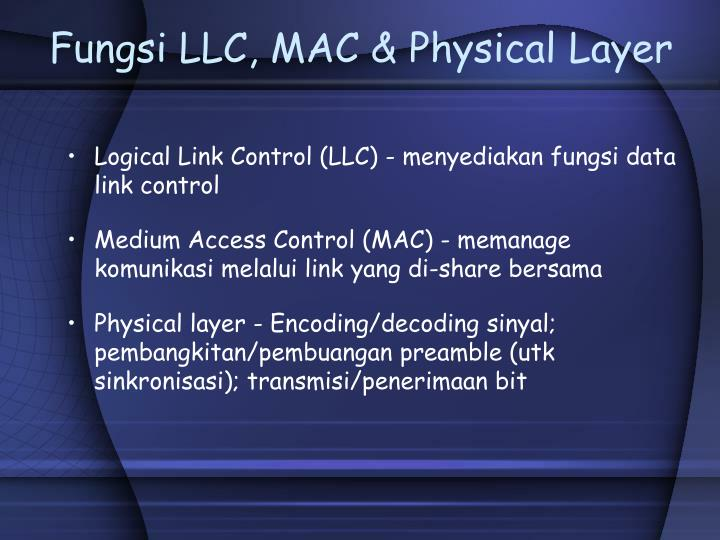 Fungsi LLC, MAC & Physical Layer