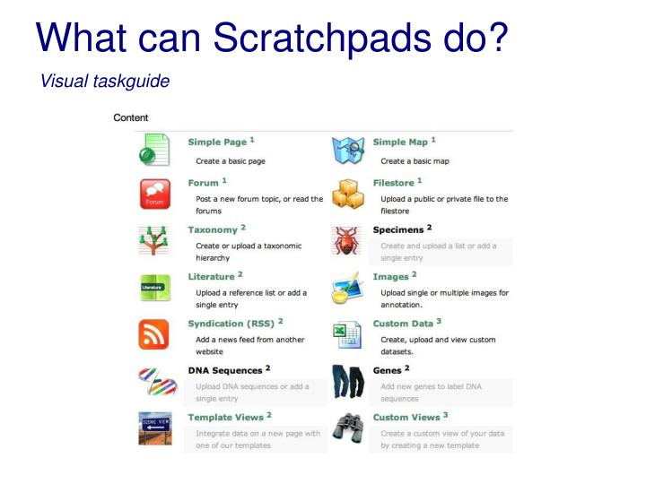 What can Scratchpads do?